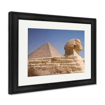 Framed Print, Great Pyramid And Sphinx Gizegypt