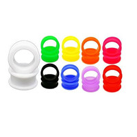 TOPBRIGHT® 9 Pairs Silicone Flared Lip Ear Gauge Tunnels 18 Pcs Earring Plugs (6mm)