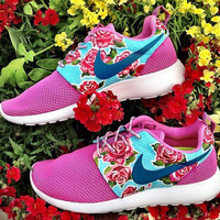 Customized Rosy Nike Roshe Runs
