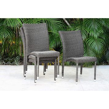 Atlantic Patio Atlantic Bari 4-Piece Patio Stackable Chairs Set Wicker | Ideal for Outdoors and Indoors, Beige/Gray Side