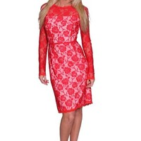 Beautifly Women's Long Sleeve Knee-length Red Thick Lace Evening Dress