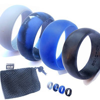 Genuine B2ACTION Men's Silicone Wedding Ring Band. 4 Rings Pack (Black, Gray, Blue, Camo) with Exclusive Gift Box