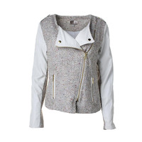 Kut From The Kloth Womens Tweed Panel Collarless Blazer