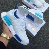 "Best Online Sale Adidas NMD R1 Blue Glow City Pack ""Sao Paulo"" S75235 -01 Boost Sport Running Shoes Classic Casual Shoes Sneakers"