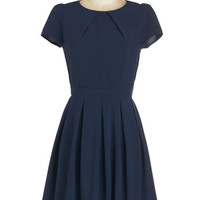 ModCloth Mid-length Short Sleeves A-line Namesake Cocktail Dress in Navy