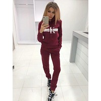 CK Calvin Klein Fashion Women Casual Print Hoodie Top Sweater Pants Trousers Set Two-piece