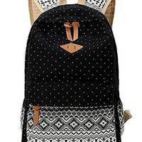 Casual Style Canvas Polka Dot Boho Stripe Printed School Backpack Laptop Bag