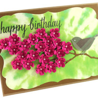 Tie Dye Background, Birthday Handmade card, Handmade card Pink Flowers, Tie Dye, Happy Birthday