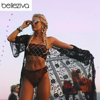 Belleziva Sexy Women Lace Pareo Beach Cover Up Dress See-through Bikini Beach Cover Up Swimwear Swimsuit Cardigan saida de praia