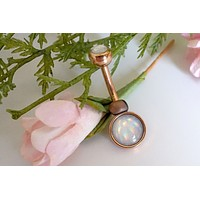 Illuminating Glowing Clear Rose Gold Round Belly Button Ring