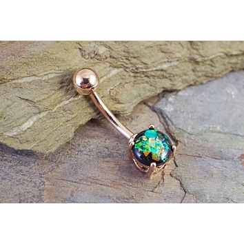 Black Opal Rose Gold Belly Button Ring