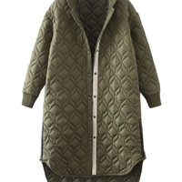 Military Green Quilted Side Zipper Detail Dipped Hem Padded Coat