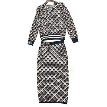FENDI Autumn and Winter New Women's Fashion Long Sleeve Knitted Shirt, Slimming Mid-long Button Skirt Temperament Two-piece Set