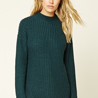 Boxy Ribbed Knit Sweater Top