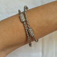 Twin Twist Silver bracelet with Crystals