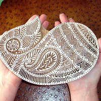 Huge Paisley Stamp: Hand Carved Wood Stamp, Large Indian Textile Printing Block, Ceramic Stamp from India