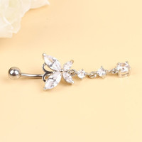 New Fashion Body Jewelry White Stainless Steel Belly Navel Ring With Crystal Butterfly Bell Piercing Jewelry = 1706182852
