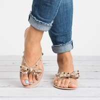 Bow Dark Beige Studded Jelly Sandals