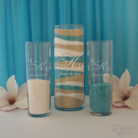 Design's Spiritual Union Couple's Monogram Wedding Sand Ceremony Set with Inspired Design Options & Gift Wrap Optional (Sand Not Included)