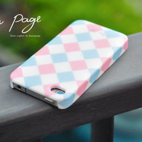 Apple iphone case for iphone iphone 5 iphone 4 iphone 4s iPhone 3Gs  : Pastel pink and soft blue Scott Plaid Pattern