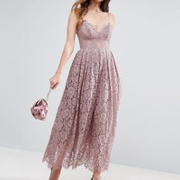 ASOS TALL Lace Cami Midi Prom Dress at asos.com