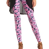 Cotton Floral Printed Leggings by Charlotte Russe - Navy Combo