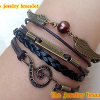 Welcome to my shop, courage  Bracelet musical note Bracelet / Harry Potter Jewelry   Wing Bracelet