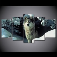 Brown Snow Wolf Print Animal Poster Winter Scene Wall Picture on Canvas