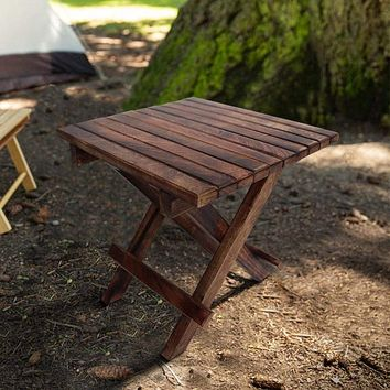 Plank Style Square Portable Mango Wood Picnic Chair with Cross Legs, Rustic Brown By The Urban Port