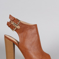 Liliana Double Buckle Peep Toe Mule Booties