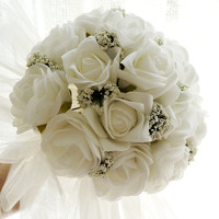 Flower Bridal Bouquet, White Roses, Wedding Bouquet, Outdoor Wedding, Country Wedding