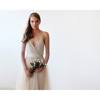 Champagne wrap maxi tulle dress
