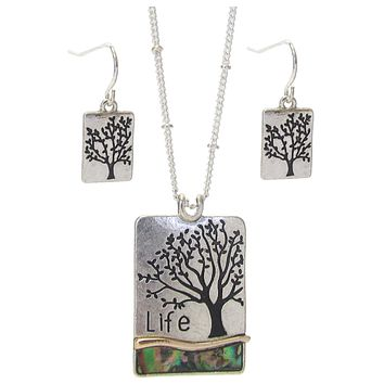Inspirational Tree of Life Pendant Necklace Set