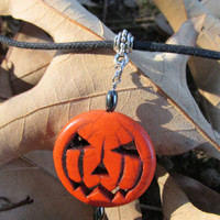 Orange Jack O Lantern Necklace, Halloween Jewelry, Howlite Turquoise Jack O Lantern Pendant, Adjustable Cord Necklace, Organza Option