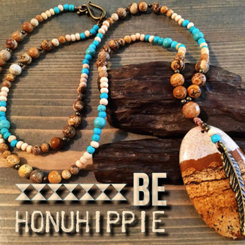 Boho hippie jewelry, Native American gypsy feather necklace