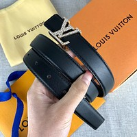 Louis Vuitton LV new fashion trend wild men and women diamond buckle belt