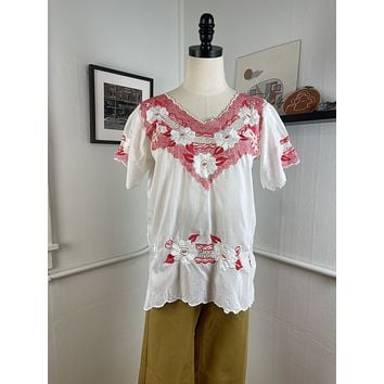 Vintage Floral Embroidered Peasant Blouse (S)