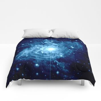 Turquoise Galaxy Star Comforters by GalaxyDreams
