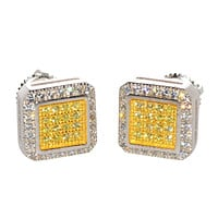 Yellow & White CZ Stud Screwback Earrings .925 Sterling Silver Micropave ASC