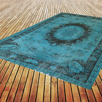 size 108  x 69 i inch blue turquoise ocean  blue  faded destressed  handmade overdyed rug teppich carpet  FREE SHIPPING