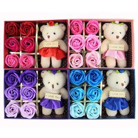 6Pcs Box Romantic Rose Soap Flower With Little Cute Bear Doll Great For Valentine's Day Gifts Wedding Gift birthday Gifts