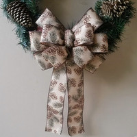 Burlap Christmas Bow-Pinecone Printed Bow-Wreath Bow-Pinecone Decoration-Stair Door  Mailbox Tree Topper