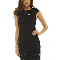 Black Round Neck Capped Crochet Mini Dress