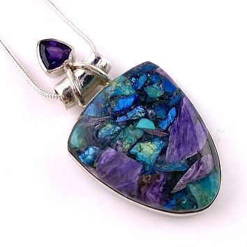 Charoite In Chrysocolla  & Amethyst Sterling Silver Pendant