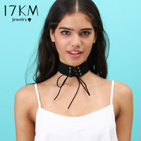 17KM 3 Colors Hot Trendy Stylish Punk Black Leather Chain Choker Necklace for Women Girls 2016 collares bib Bar collier boheme