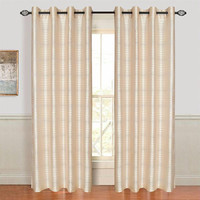 Set of 2 Lavish Home Maggie Grommet Curtain Panel- Beige