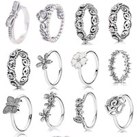 2015 Spring collection ring 925 sterling silver rings for women flower and bow Rings silver anillos fine Memnon jewelry set
