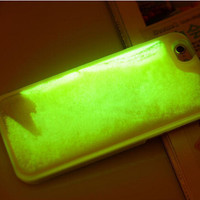 """Glow In The Darkness Noctiluncent Running Liquid Luminous Sand Hard Plastic Back Cover Case For iPhone 6 6s 4.7"""" Phone cases"""