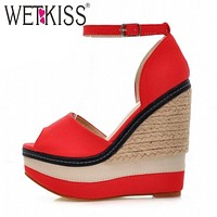 WETKISS Sexy Open toe Weave Patch Color Wedges Gladiator Sandals Women High Heels Platform Sandals Summer Women's Shoes Woman