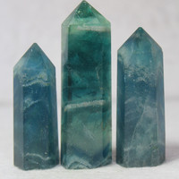 (3pcs) 100% NATURAL  Blue fluorite quartz CRYSTAL POINT HEALING WAND